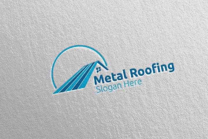 Real Estate Metal Roofing Logo 17