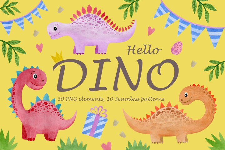 Watercolor Dinosaurs Clipart, Seamless patterns.