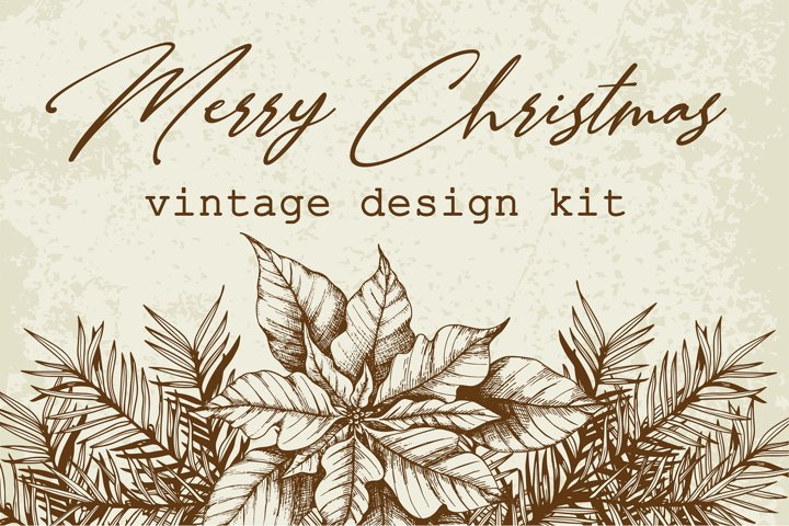 Merry Christmas Vintage Design Kit