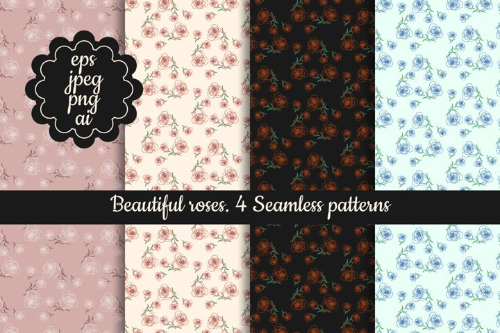 Beautiful roses digital papers | red, blue seamless patterns