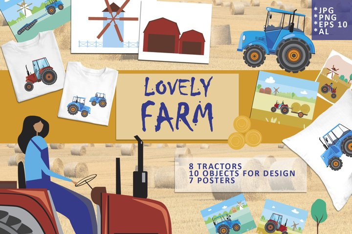 Lovely farm - illustration set with tractors