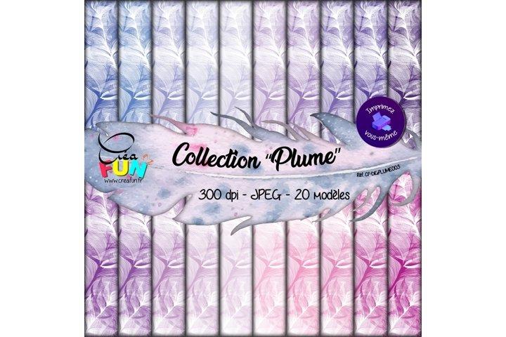 Lot de 20 papiers numériques - Collection Plume 03