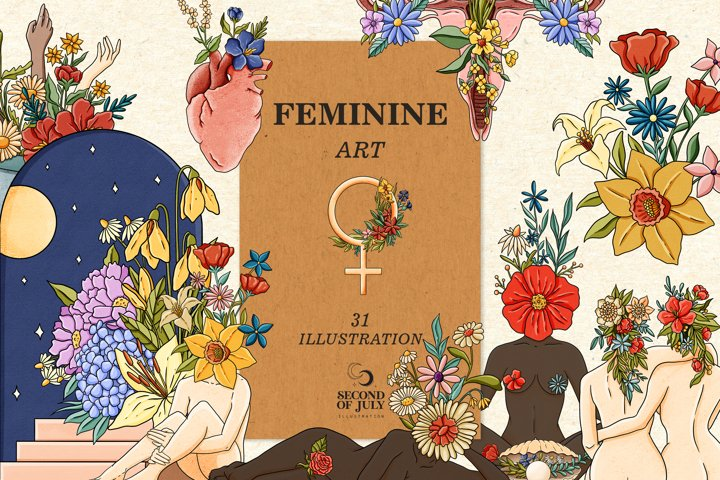 Feminine art collection, Feminist clipart, woman energy art