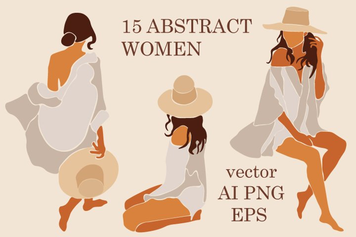 Abstract Women Clipart. Modern Female Illustrations. Vector.
