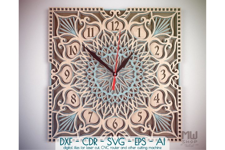 C32 - Laser Cut Wall Clock DXF, Mandala Clock, Wooden Clock