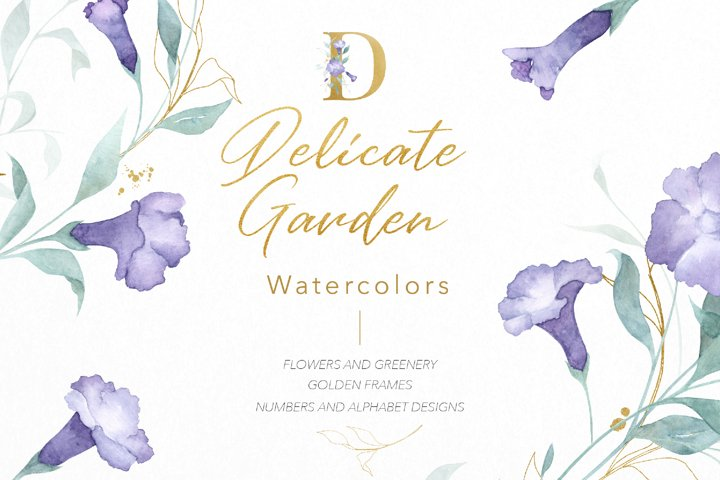 Watercolor Flowers Wreaths Gold Frames Wedding Wildflowers