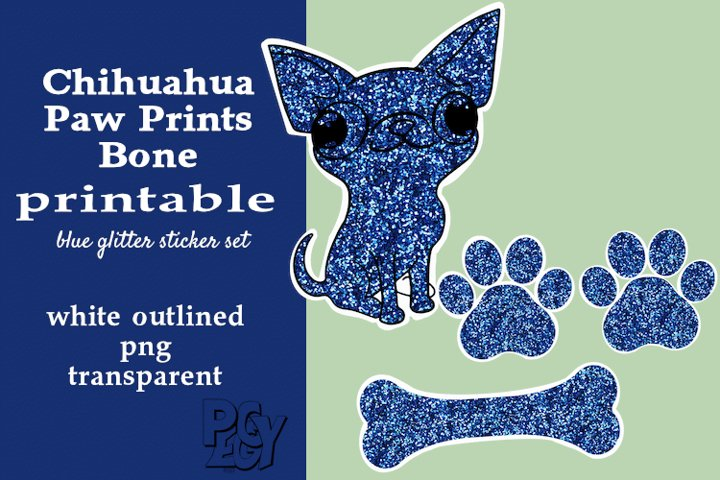 Chihuahua Blue Glitter Printable Sticker SET