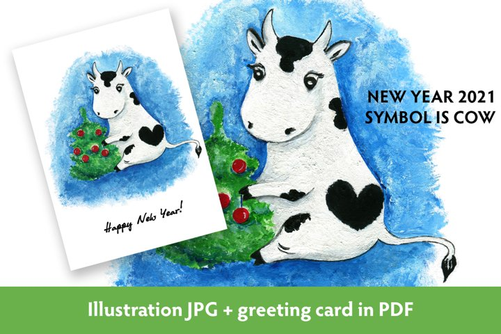 Cow decorating Christmas tree. New year 2021 symbol card