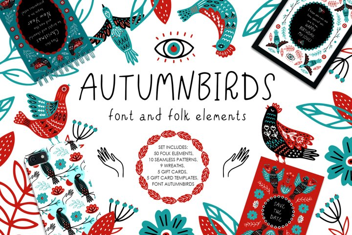 Autumnbirds - font and folk element