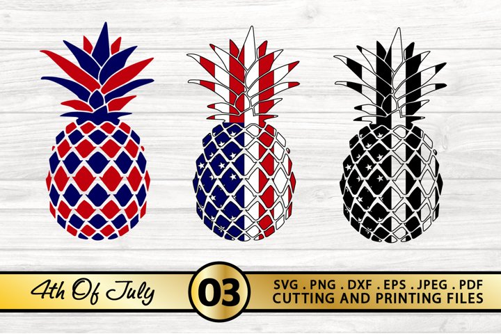 4th of July SVG American Flag Pineapple SVG PNG DXF EPS File
