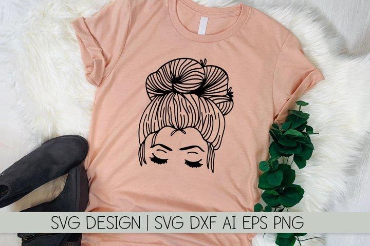 Messy Bun - Pretty Lady - SVG Cutting File - Hand Drawn