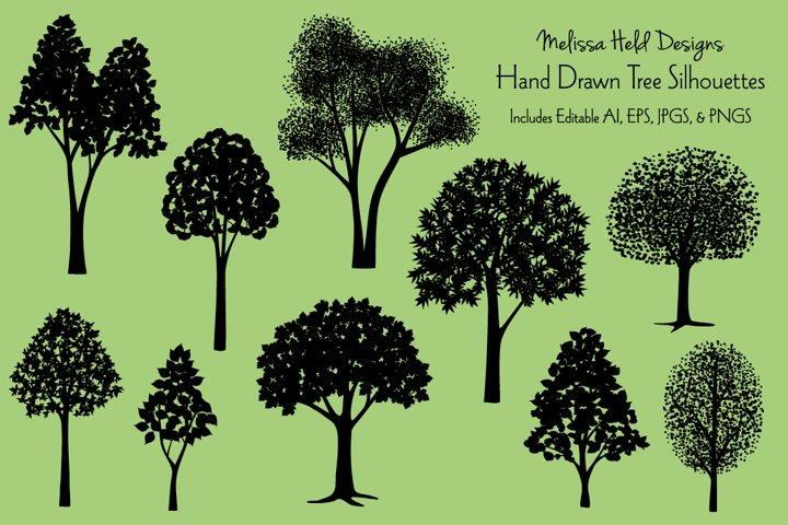 Hand Drawn Tree Silhouettes