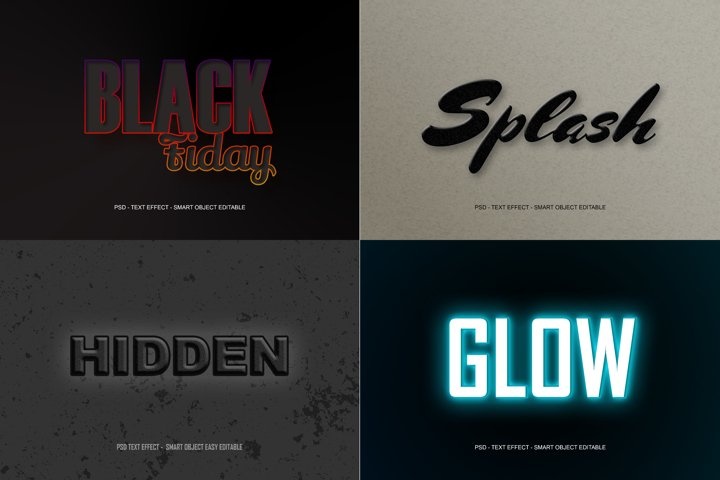 4 Packs Dark Black PSD Text Effect Smart
