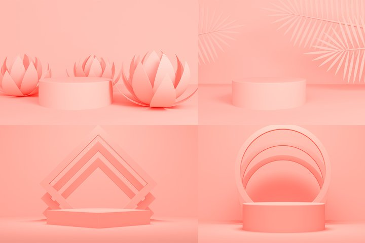 Set of 3D coral background showcase product with a platform