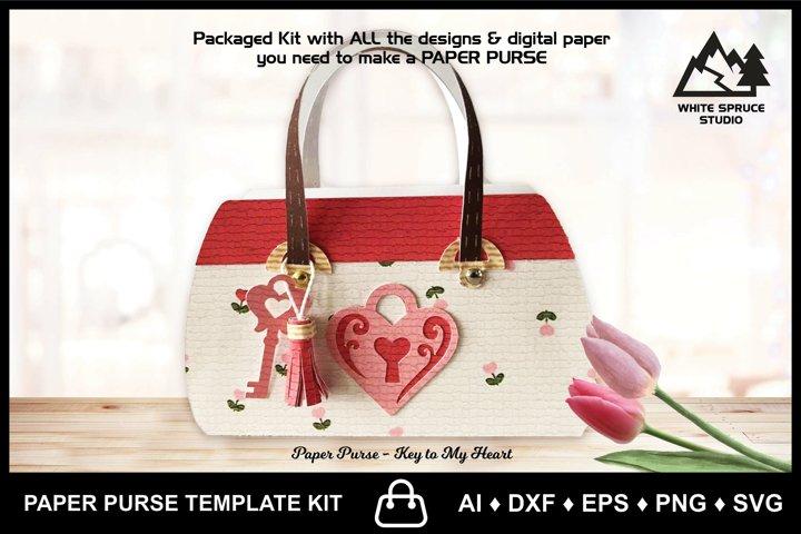 Paper Purse Template, Digital Paper, Paper Purse Gift Box