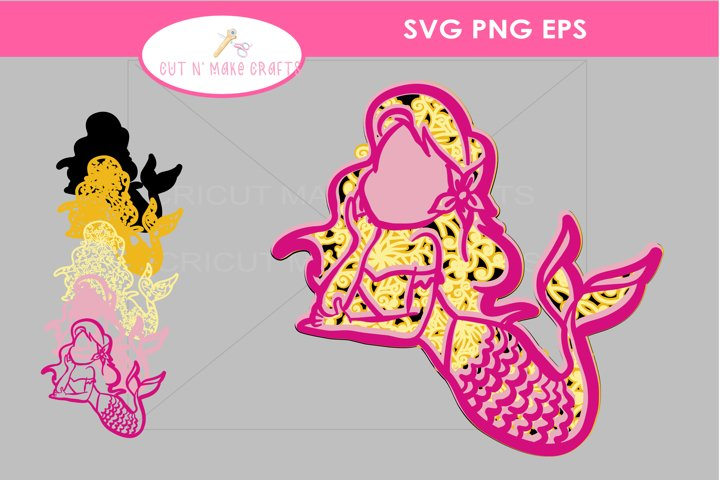 3D Multilayered Mermaid SVG Cut File Mandala Mermaid SVG