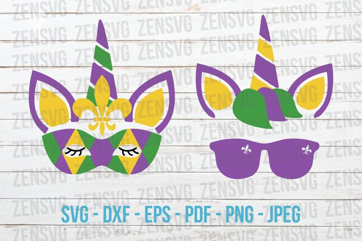 Mardi Gras Unicorn Head Cut File