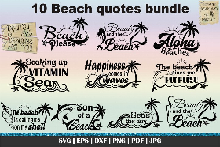 Beach quotes and sayings bundle