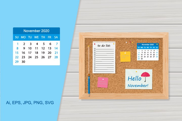 Vector cork board with 2020 calendar and to do list