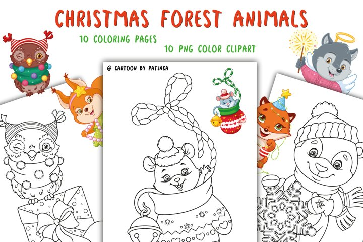 Christmas Forest Animals clipart and Coloring Pages
