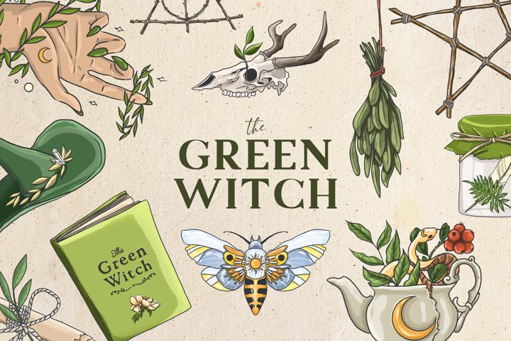 Green witch clipart, occult clipart, wiccan clipart, witch