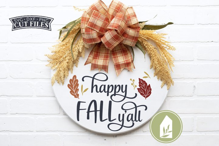 Happy Fall Yall SVG Files, Fall Front Door Wood Sign SVG