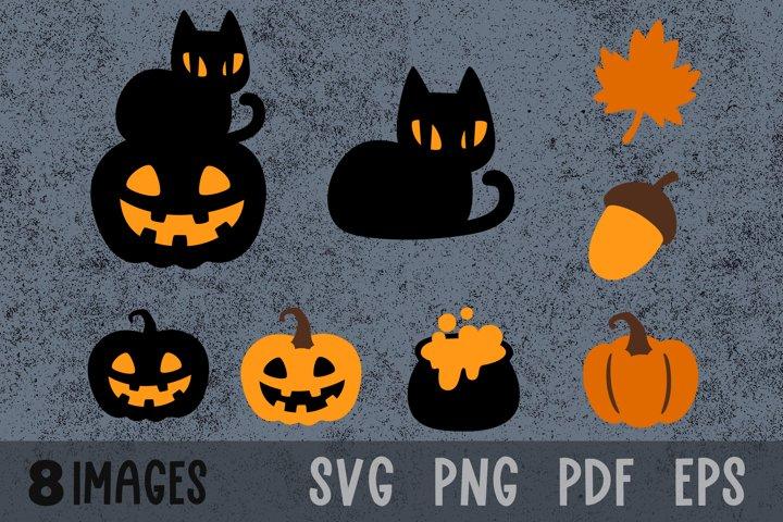Fall svg Halloween pumpkin svg Black cat svg Acorn svg files