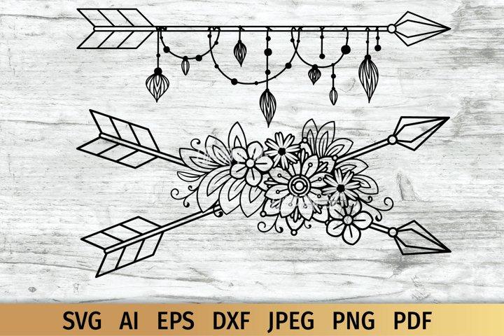 Boho Arrow svg, Crossed Floral Arrows Cut File