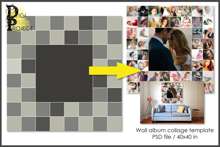 Collage template, album on a wall 40x40, psd Photoshop tem