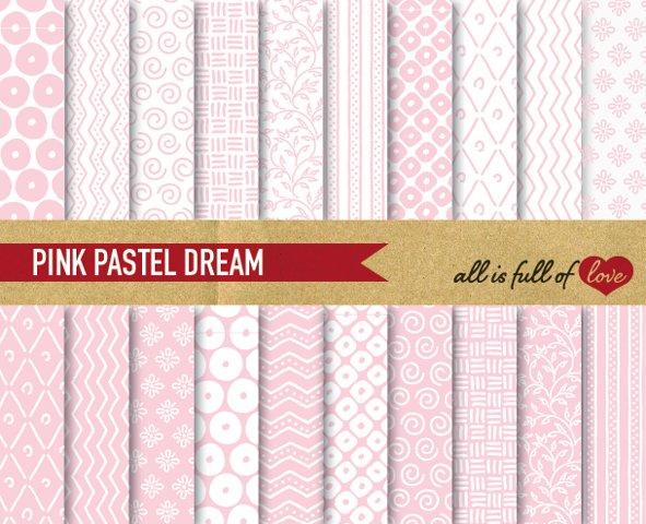 Soft Pink Digital Paper Hand Draw Background Patterns