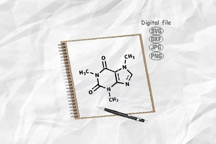 Caffeine Molecule Svg, Caffeine Svg, Molecule Svg,Coffee Svg
