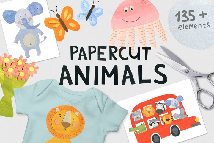 Papercut Animals Clipart