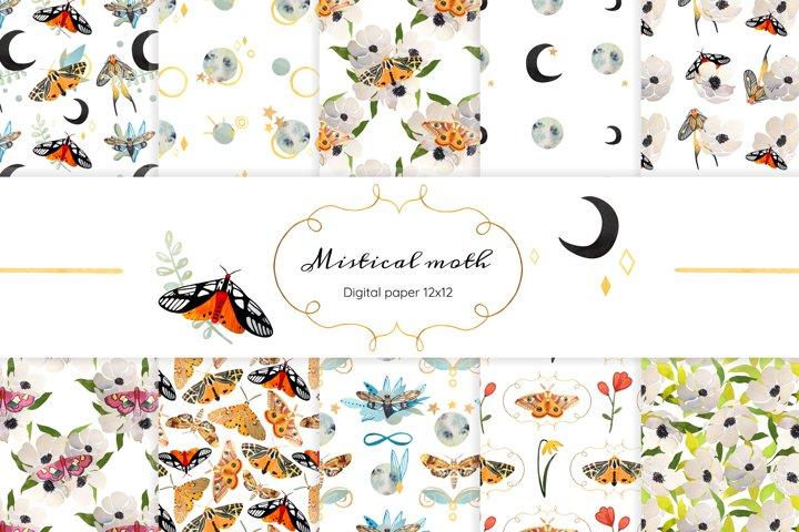 Digital scrapbook paper Mistical moth