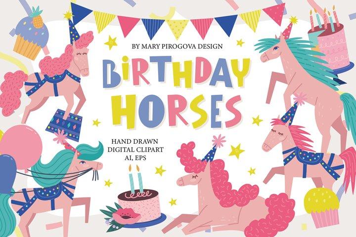 Carnival birthday clip art, Circus horse party clip art.