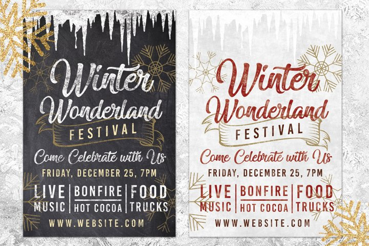 Chalk Christmas Winter Wonderland Holiday Flyer Invite