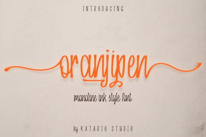 Oranjipen | Monoline Ink Style Font