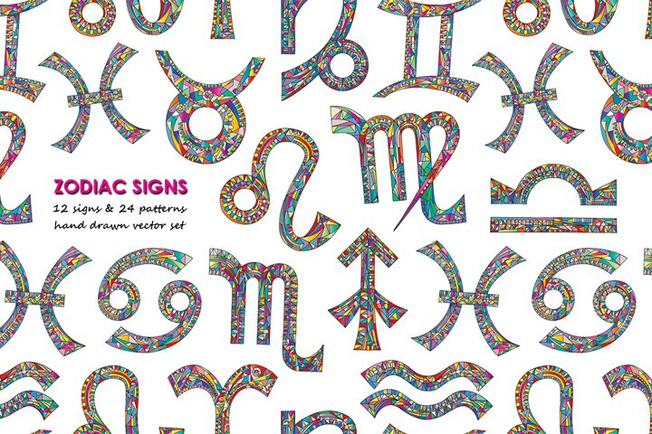 Zodiac signs vector collection