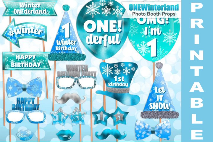 Blue Winter ONEderland photo booth props / PRINTABLE