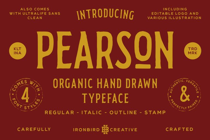 Pearson Typeface- 4 Fonts! & EXTRA