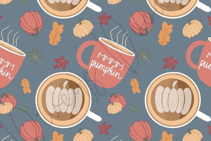 Fall Pumpkin Spice Coffee Art Seamless Pattern