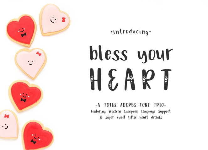 Bless Your Heart Hand Lettered Font Trio w/ Hearts