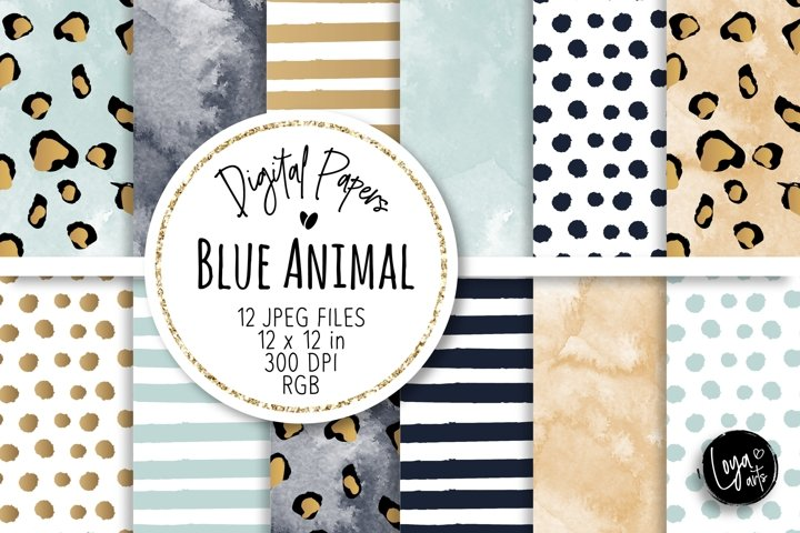 Blue Animal Digital Papers Set