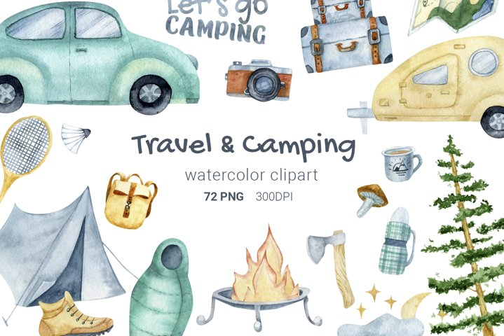 Camping sublimation bundle, watercolor camping