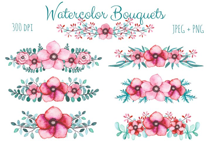 Watercolor Flowers and Birds Set example 5