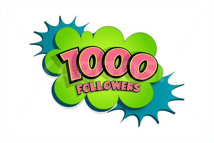 Comic book 1000 followers speech bubble 3d