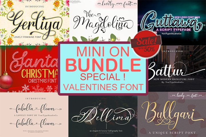 Valentines font bundle