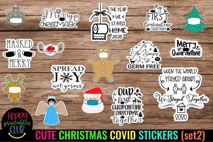 Cute Christmas COVID Stickers- Christmas Quarantine Stickers
