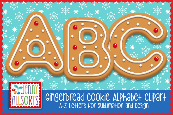 Gingerbread Cookie Alphabet Clipart, Christmas Letters