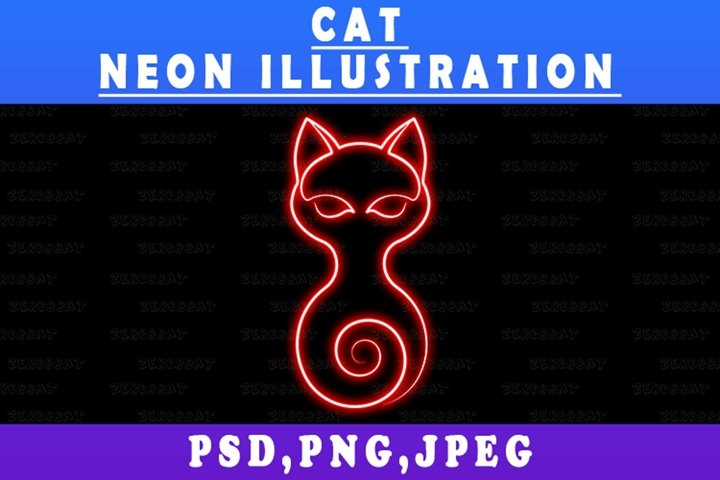 Neon Cat Lines Valentine illustration clip art