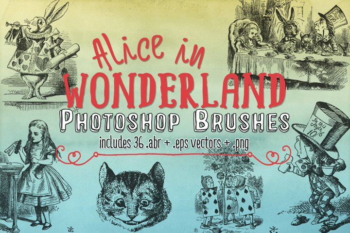 Alice in Wonderland Photoshop Brushes, eps Vectors & png